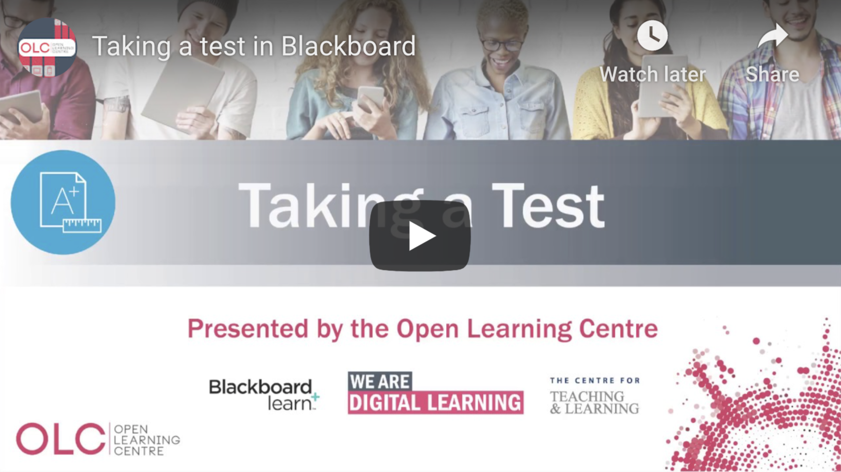 Taking a test in Blackboard - Video