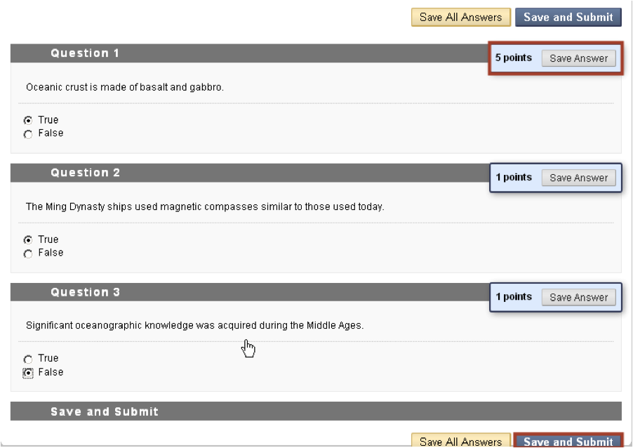 sample questions screenshot