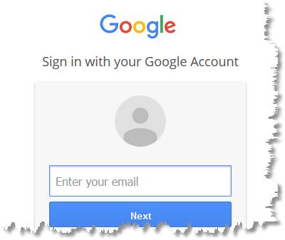 google log in screen shot