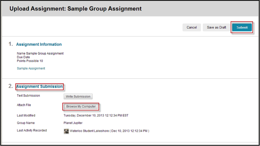 upload assignment section screen shot