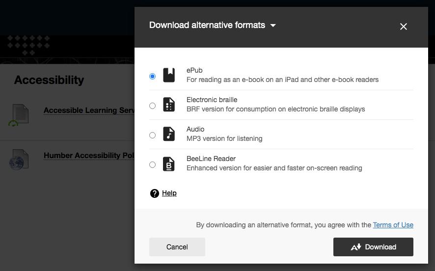 choosing format page screen shot